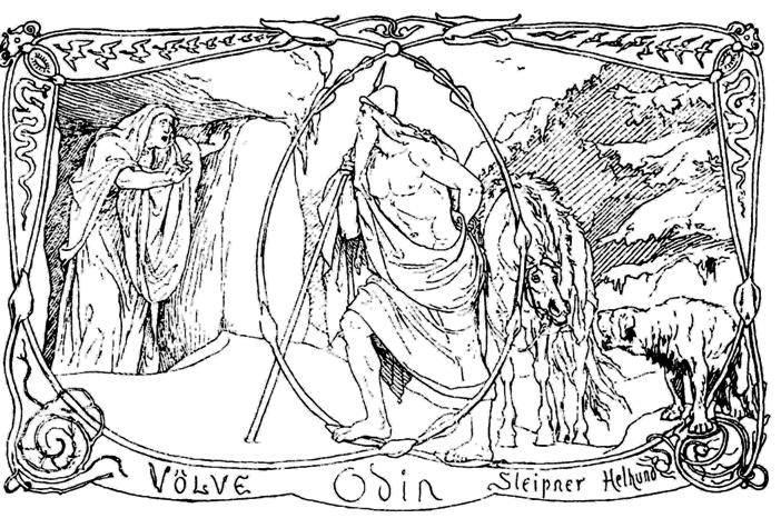 Óðinn đánh thức völva (1895) – tranh của Lorenz Frølich