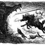 Óðinn đối mặt với Fenrir (1929 ) – tranh của Louis Moe
