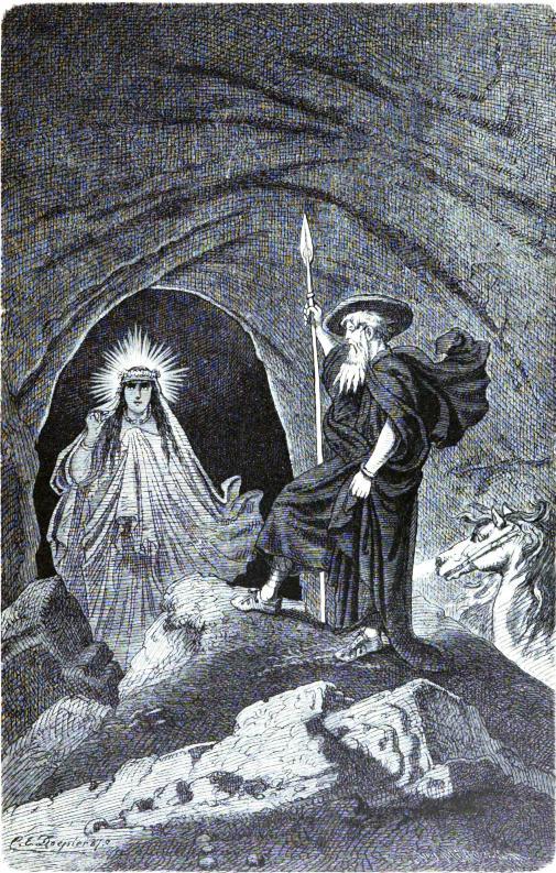 Óðinn và völva (1876) – tranh của Carl Emil Doepler Sr.