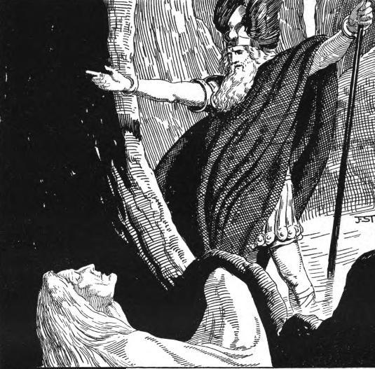 Óðinn và völva (1920) – tranh của Franz Stassen