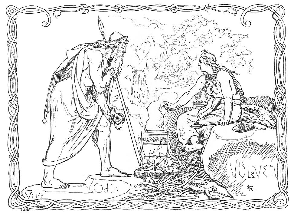 Óðinn và vǫlva (1895) – tranh của Lorenz Frølich