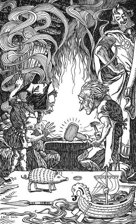 Món quà thứ ba: một cây búa khổng lồ (1902) – tranh của Elmer Boyd Smith