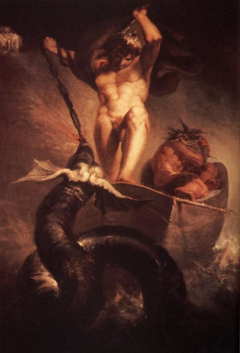 Þórr trên thuyền của Hymir (1790) – tranh của Henry Fuseli