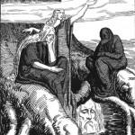 Các norns Urðr, Verðandi, và Skuld với đầu của Mímir (1920) – tranh của Franz Stassen