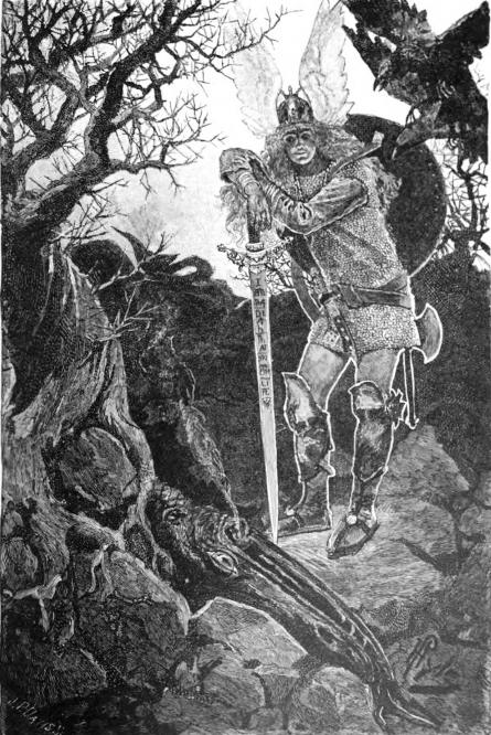 Cái chết của Fáfnir (1901) – tranh của Howard Pyle