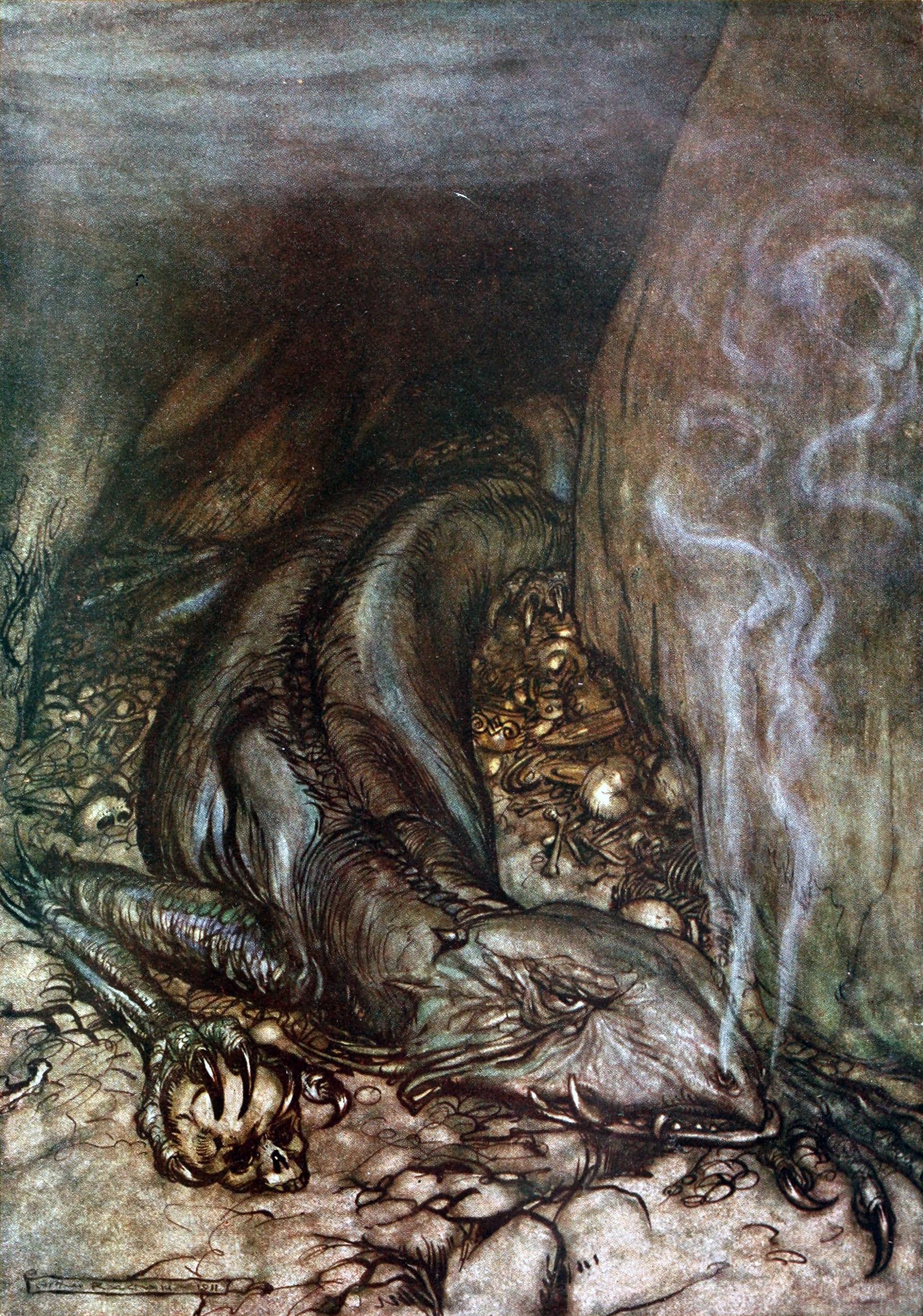 Fáfnir canh giữ kho báu (1911) – tranh của Arthur Rackham