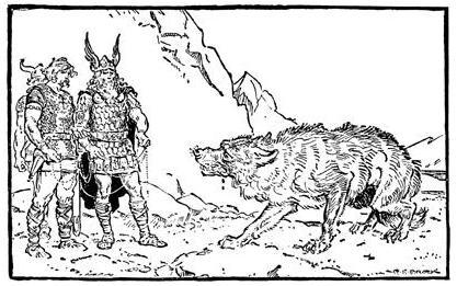 Fenrir nghi ngờ các vị thần (1930) – tranh của Charles E. Brock