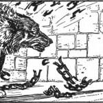 Fenrir phá vỡ xiềng xích lần thứ hai (1914 ) – tranh minh họa của Rona F. Hart