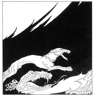 Fenrir và Jörmungandr (1920) – tranh của Willy Pogány
