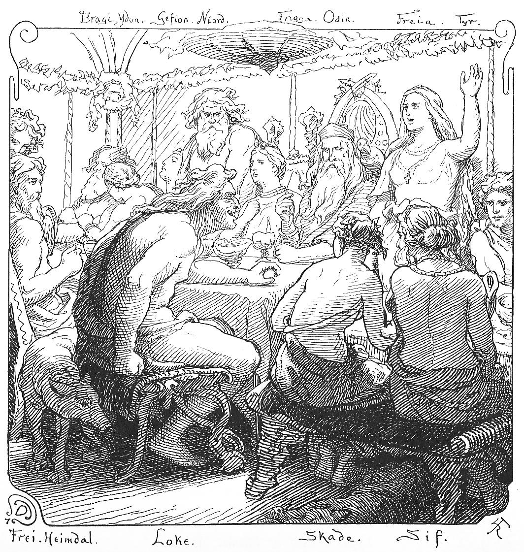 Freyja và Loki tranh cãi (1895) - tranh minh họa của Lorenz Frølich