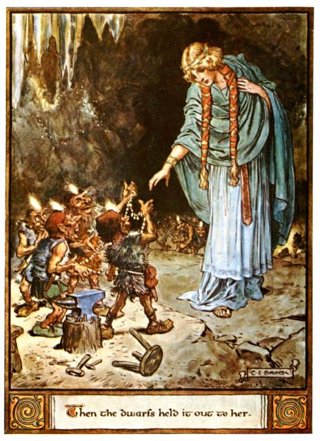 Freyja mặc cả Brísingamen với nhóm người lùn (1930) – tranh của Charles E. Brock