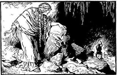 Freyja nhìn vào hang người lùn (1930) – tranh của Charles E. Brock