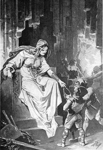 Freyja nhận lấy Brísingamen (1907) – tranh của Alexander Zick