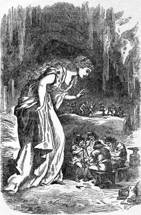 Freyja và nhóm người lùn Brísingr (1891) – tranh minh họa của Louis Huard