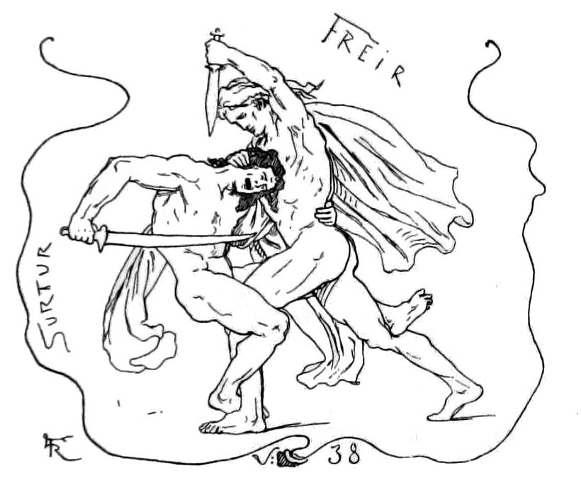 Freyr và Surtr giao chiến tại Ragnarök (1895) – tranh minh họa của Lorenz Frølich