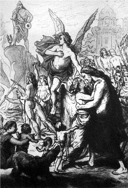 Iðunn được đưa trở về Ásgarðr (1906) - tranh của Lorenz Frølich