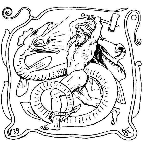 Þórr chiến đấu với Rắn Miðgarðr (1895) – tranh minh họa của Lorenz Frølich