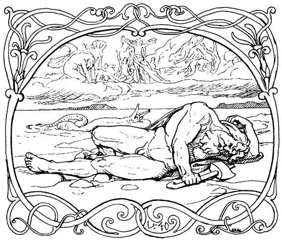 Þórr qua đời (1895) – tranh minh họa của Lorenz Frølich