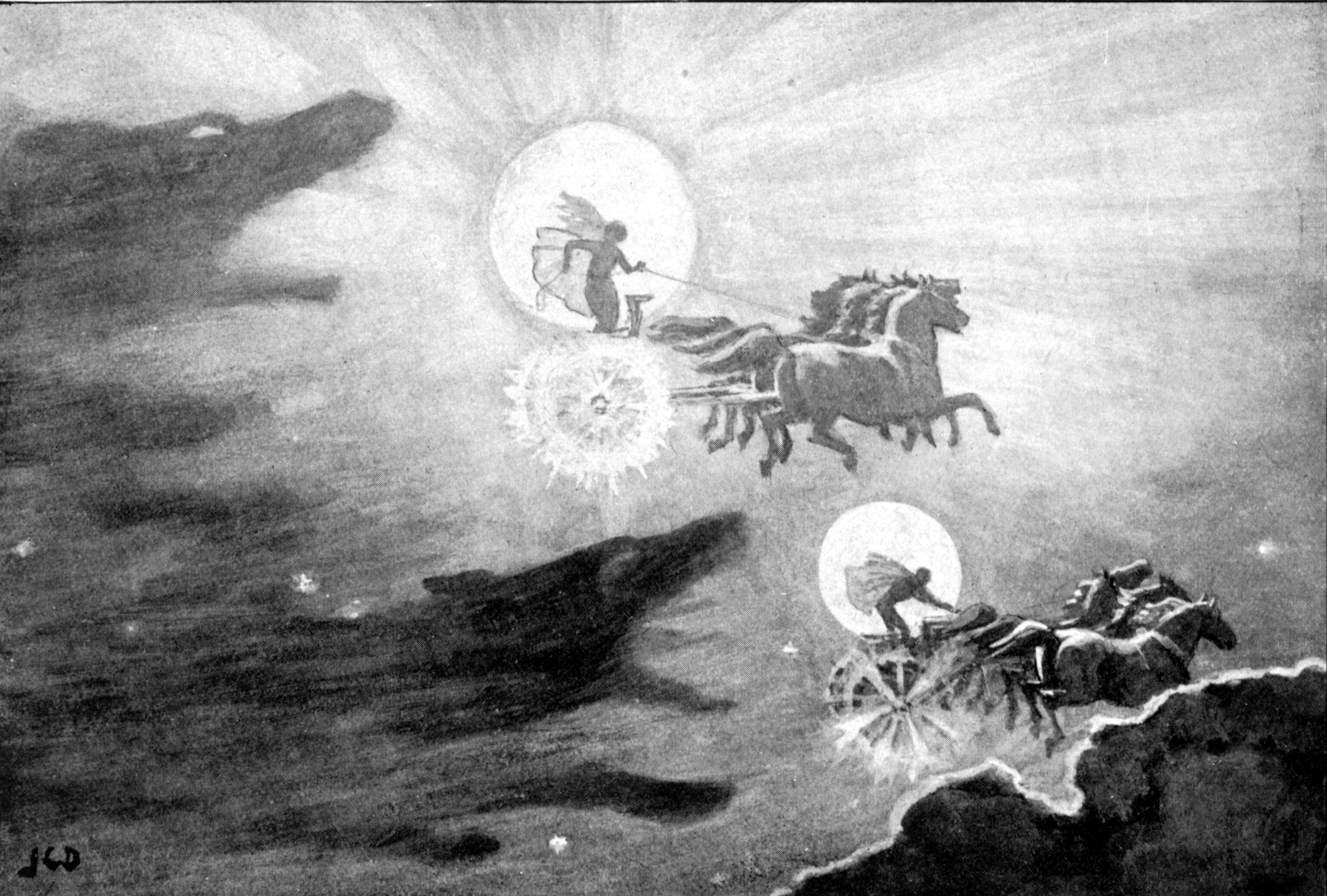 Hai con sói truy đuổi Sól và Máni (1909) - tranh của J.C. Dollman