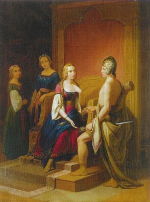 Heimdallr trả Brísingamen cho Freyja (1846) - tranh của Nils Blommér