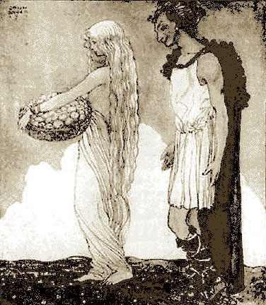 Loki lừa Iðunn khỏi Ásgarðr - tranh của John Bauer