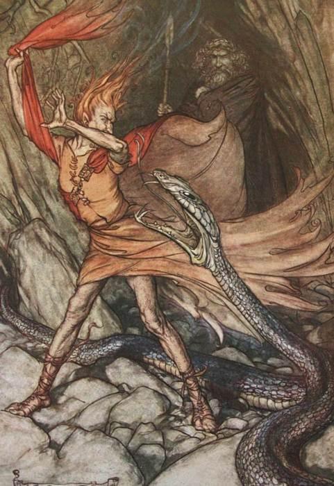 Loki, Óðinn và Alberich (1907) – tranh của Arthur Rackham