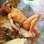 Loki bị trói vào tảng đá (1870) – tranh của D. Penrose