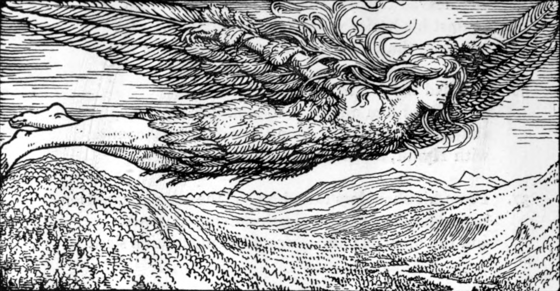 Loki bay tới Jötunheimr (1908) – tranh của W.G. Collingwood