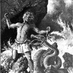 Loki giật đứt xiềng xích khi bắt đầu Ragnarök (1897) – tranh của Ernst Hermann Walther