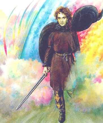 Loki trên cầu vồng Bifröst – tranh của Tudor Humphries