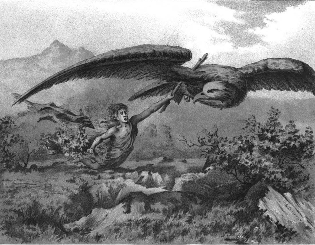 Loki và Þjazi (1886) – tranh của Edward O. Davey