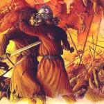 Loki và Heimdallr tại Ragnarök – tranh của Tudor Humphries