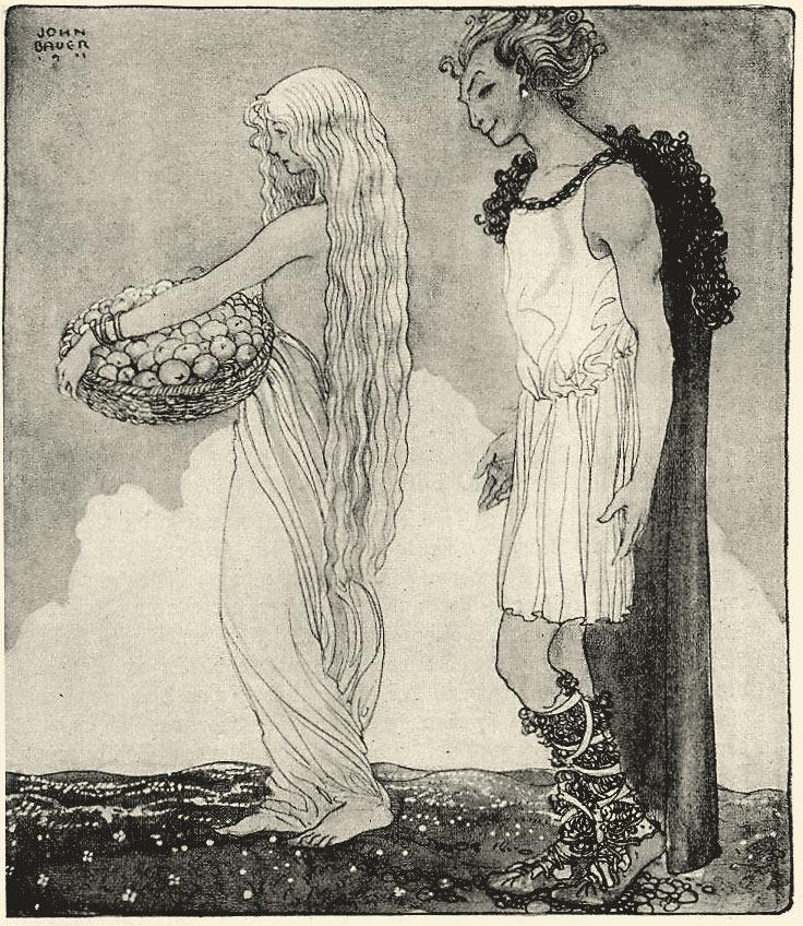 Loki và Iðunn (1911) – tranh của John Bauer