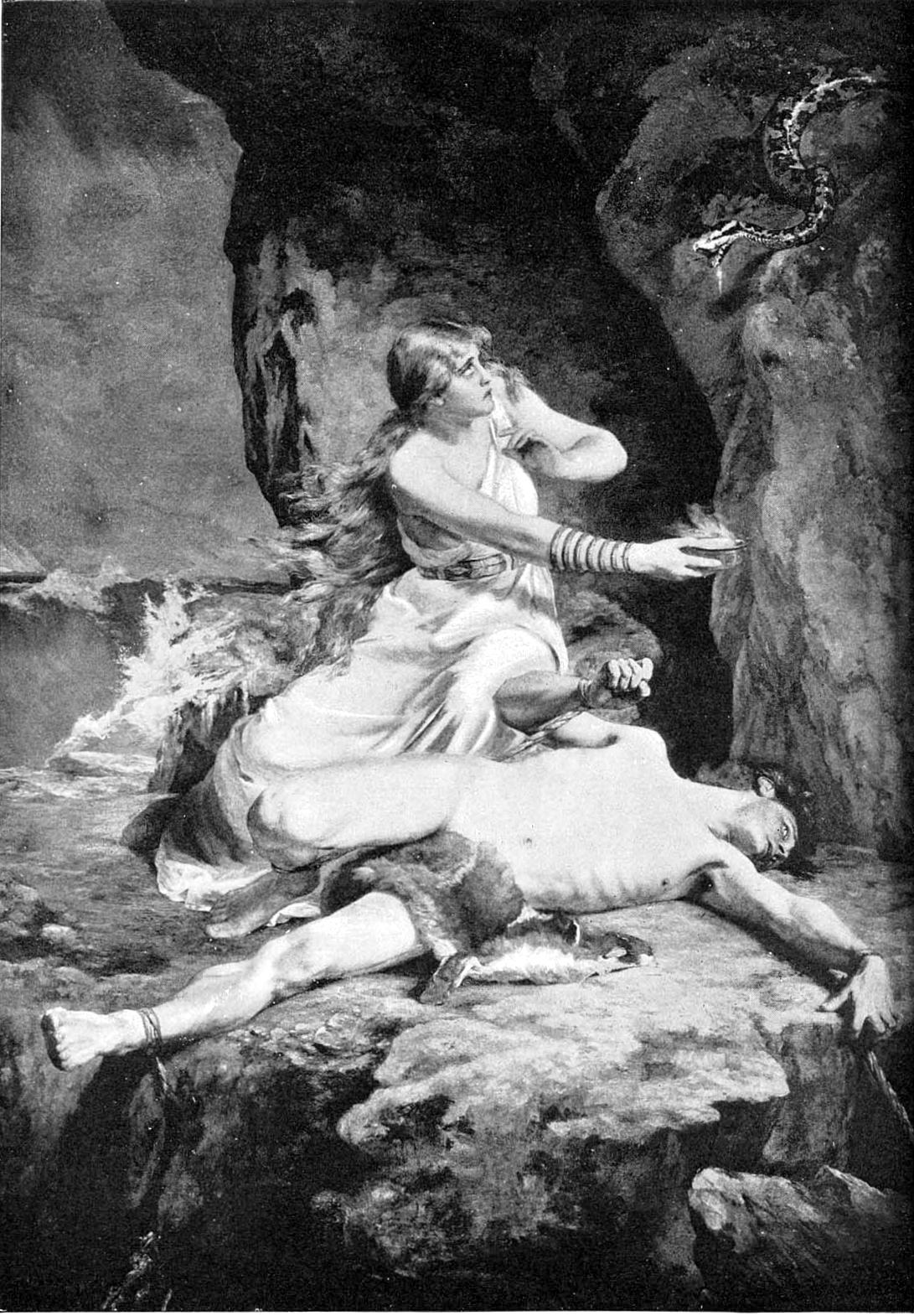 Loki và Sigyn (1892) – tranh của Karl Franz Eduard von Gebhardt