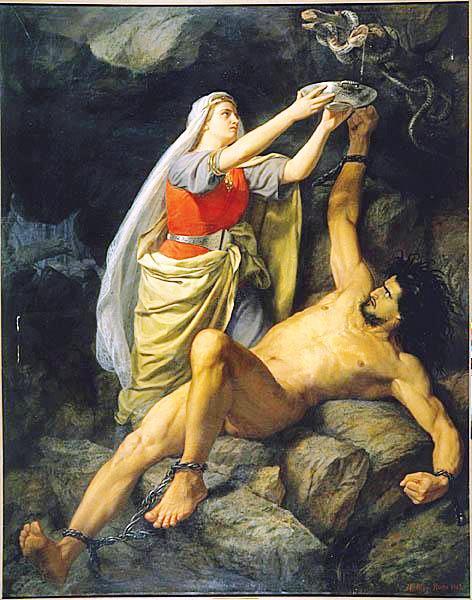 Loki và Sigyn (1893) – tranh của Mårten Eskil Winge