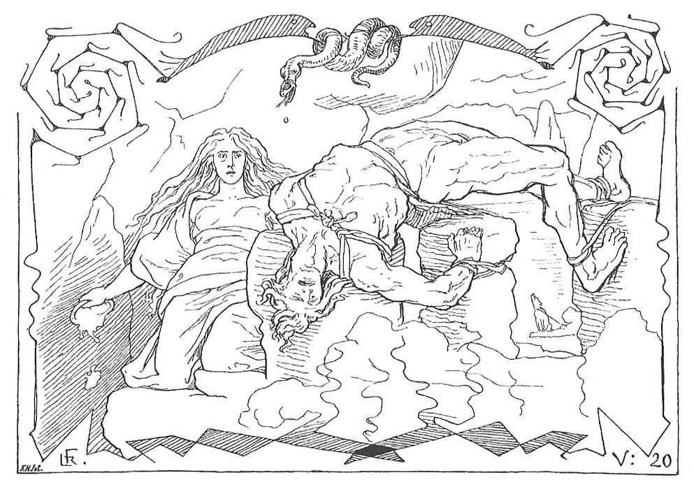 Loki và Sigyn (1895) – tranh của Lorenz Frølich