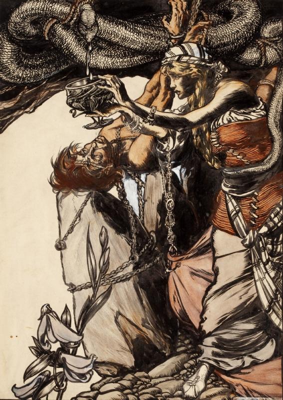 Loki và Sigyn (1907) – tranh của Arthur Rackham