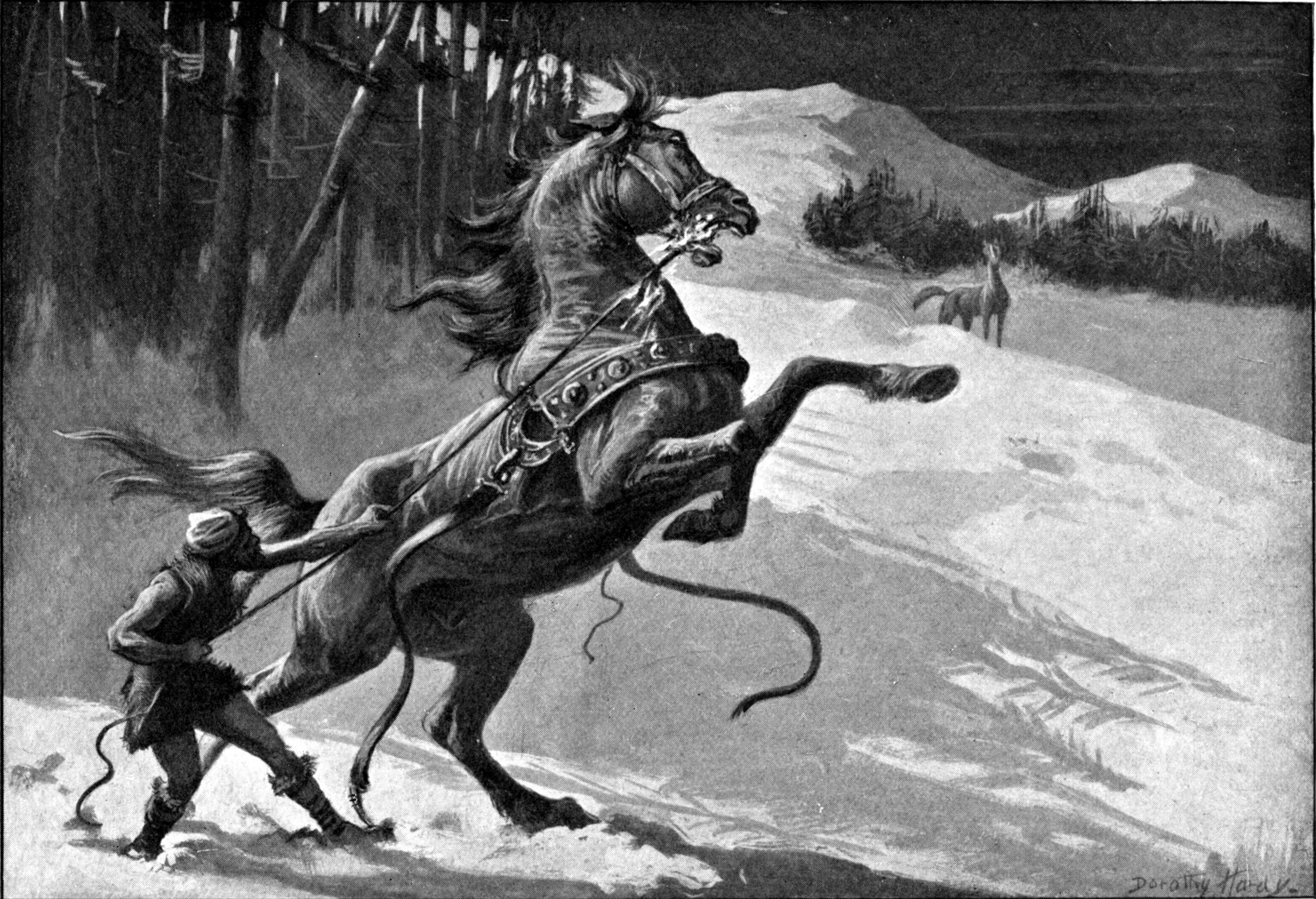 Loki và Svaðilfari (1909) – tranh của Dorothy Hardy