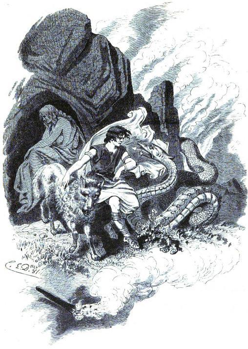 Loki và các con (1882) – tranh của Carl Emil Doepler Sr.