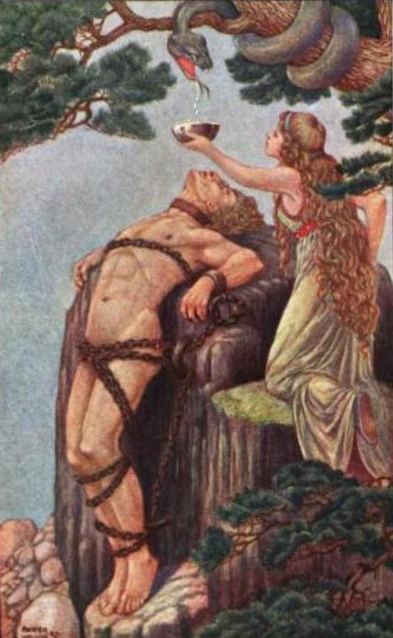 Sự trừng phạt dành cho Loki (1908) – tranh của Patten Wilson