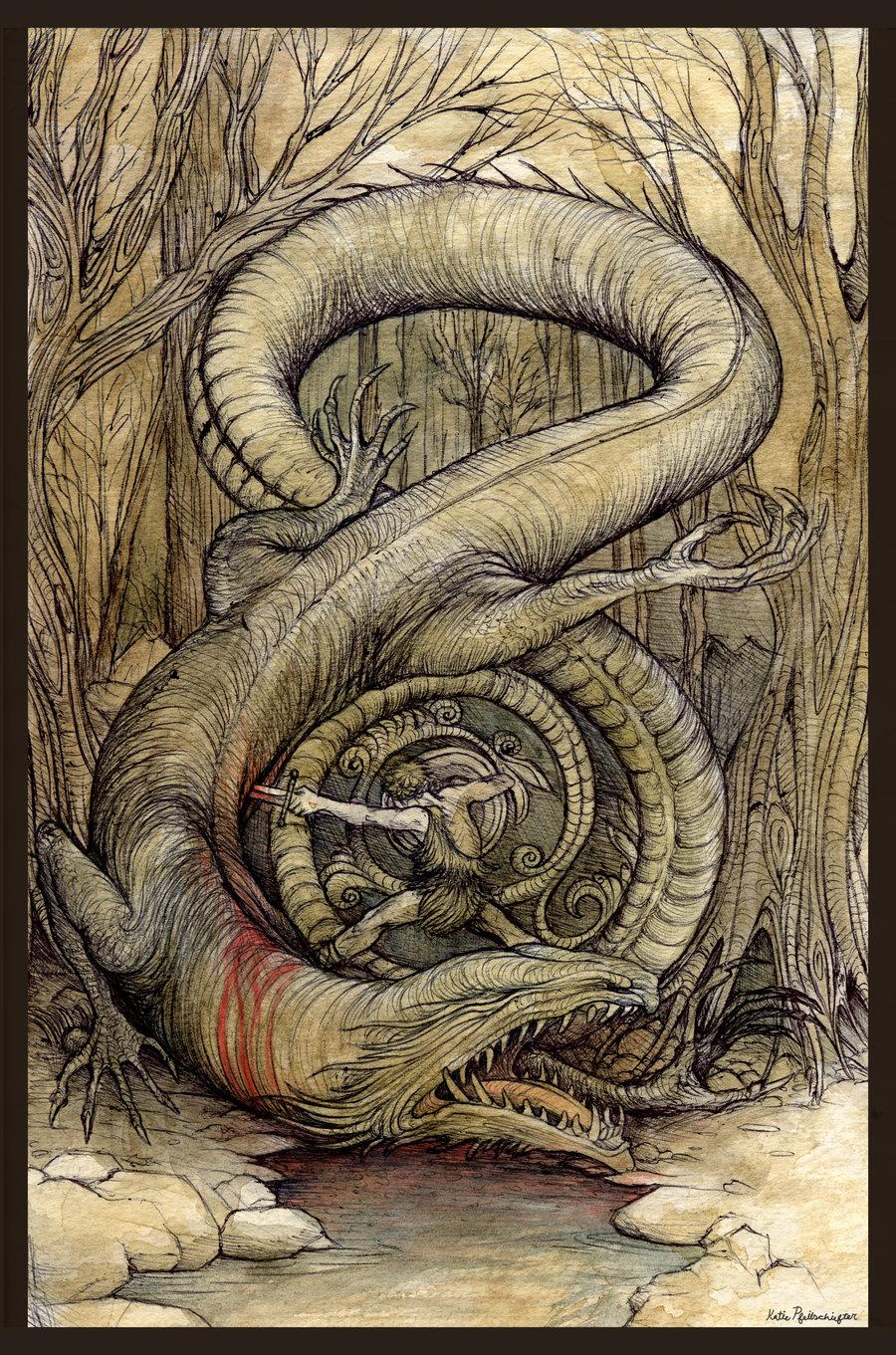 Sigurðr giết Fáfnir – tranh của Kate Pfeilschiefter