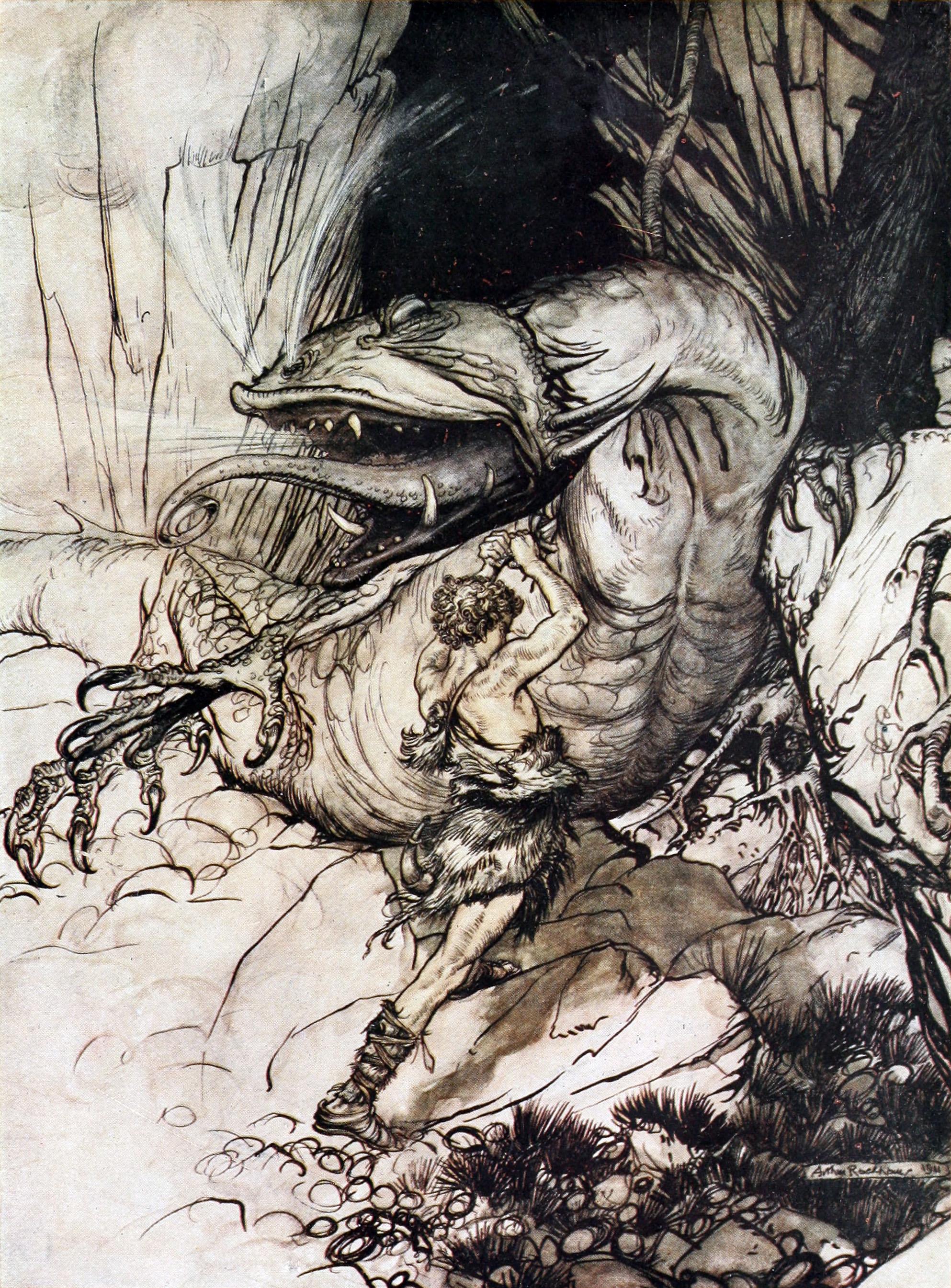 Sigurðr giết Fáfnir (1911) – tranh của Arthur Rackham