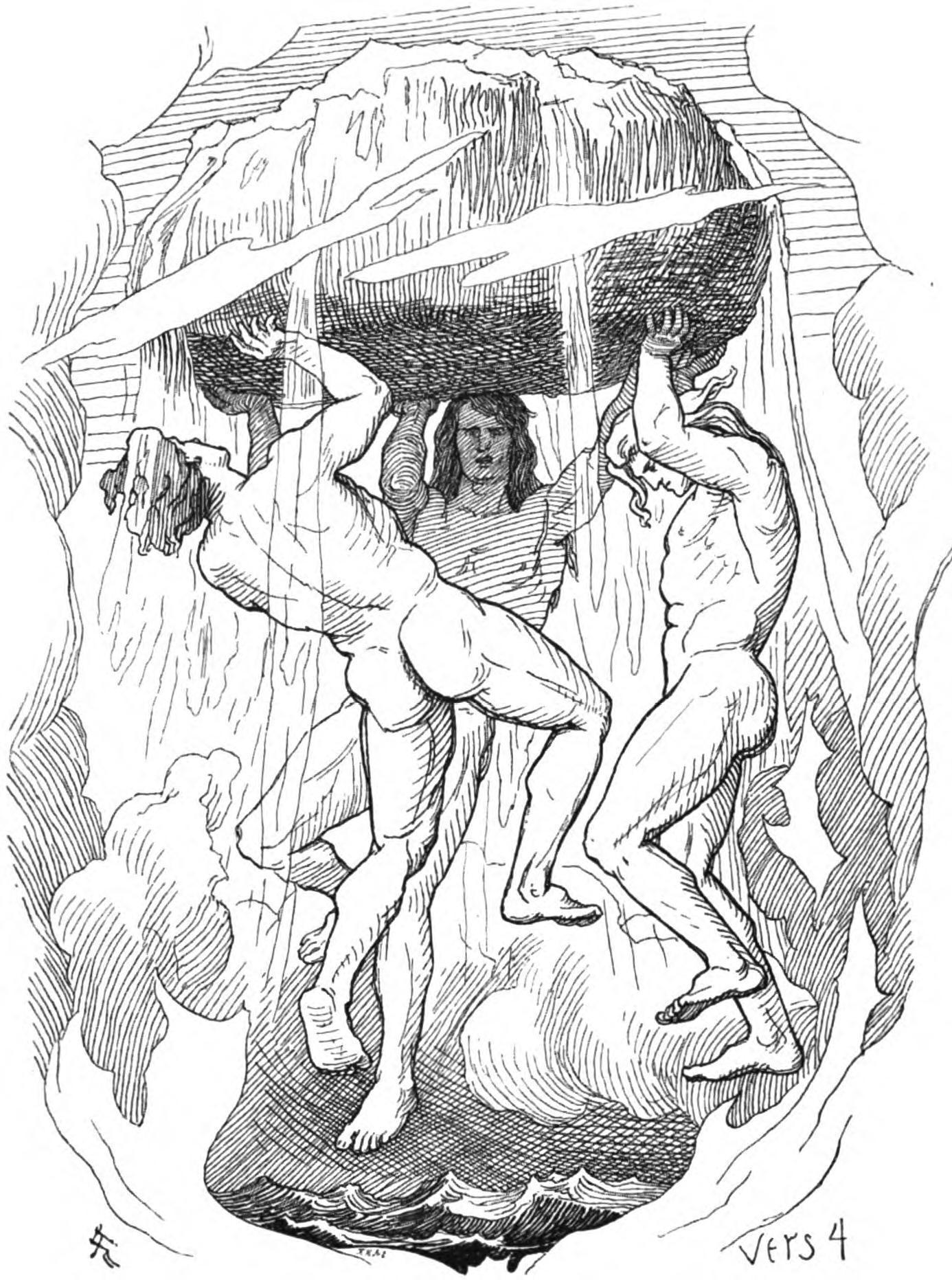 Những con trai của Borr nâng Miðgarðr lên (1895) – tranh minh họa của Lorenz Frølich