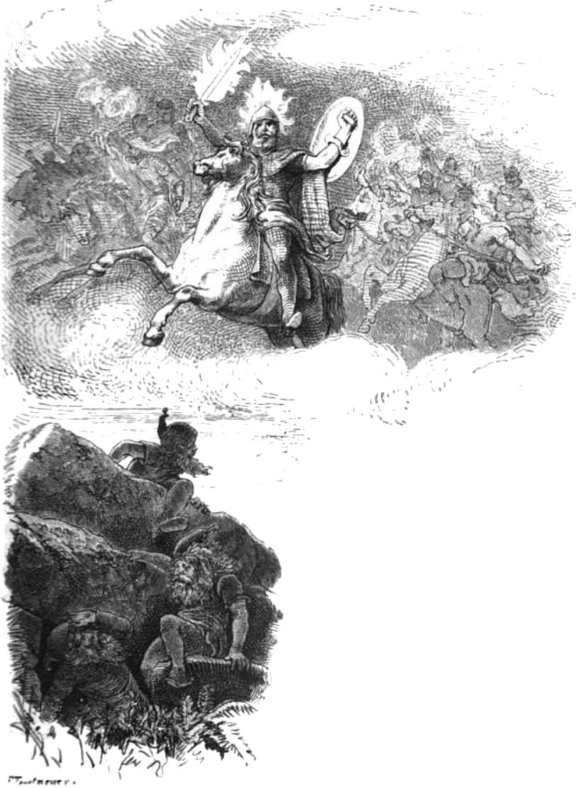 Surtr với cây kiếm lửa (1882) – tranh của F.W. Heine