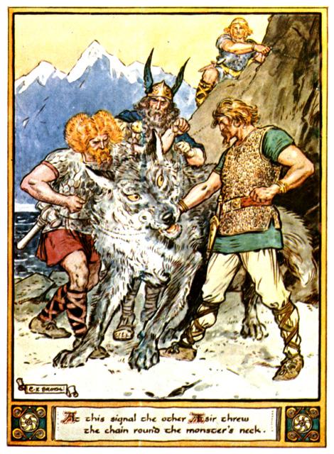 Týr đặt tay vào mõm Fenrir (1930) – tranh của Charles E. Brock