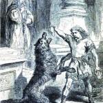 Týr cho Fenrir ăn (1871 ) – tranh minh họa của Louis Huard