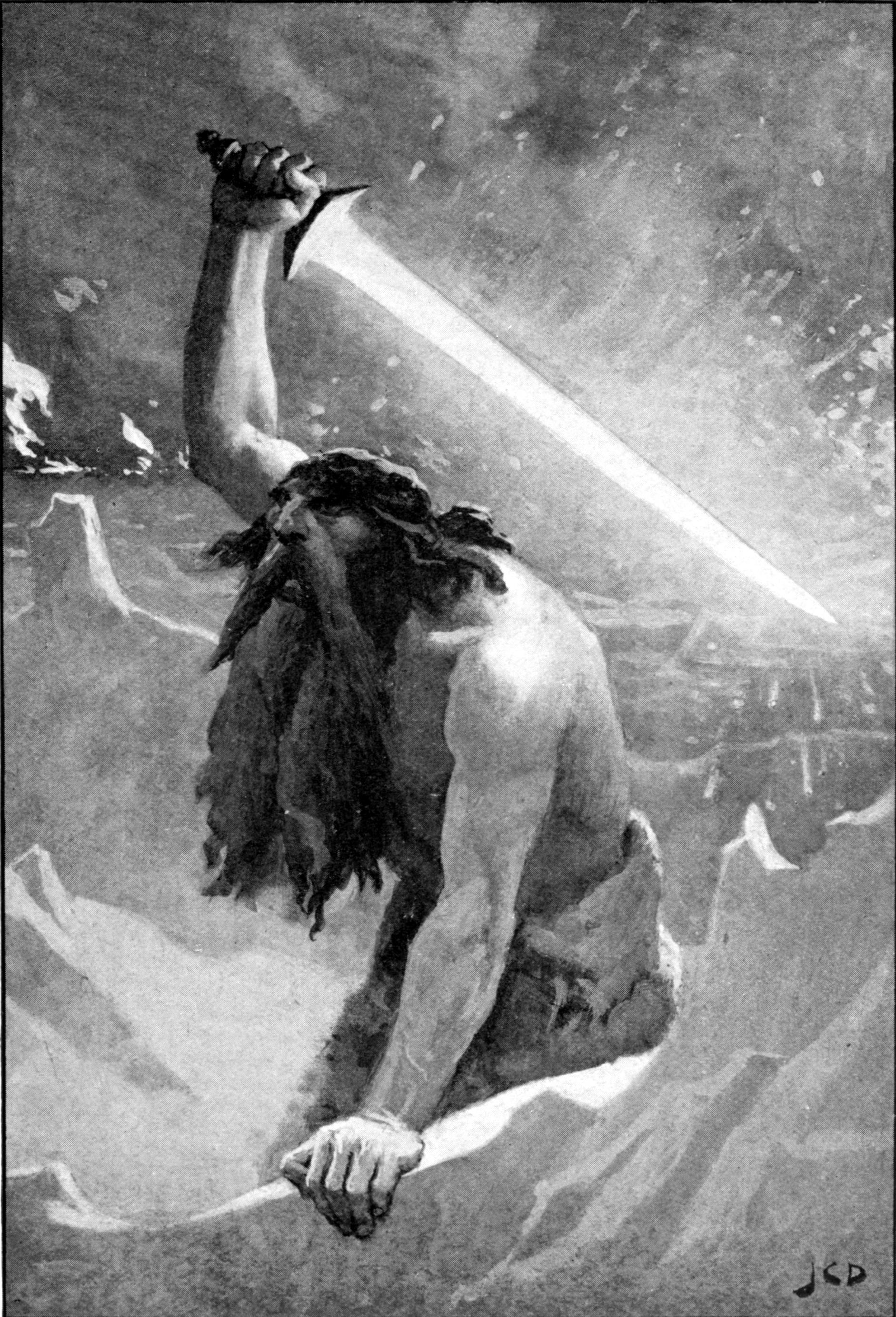 Người khổng lồ với cây kiếm lửa (1909) – tranh của John Charles Dollman