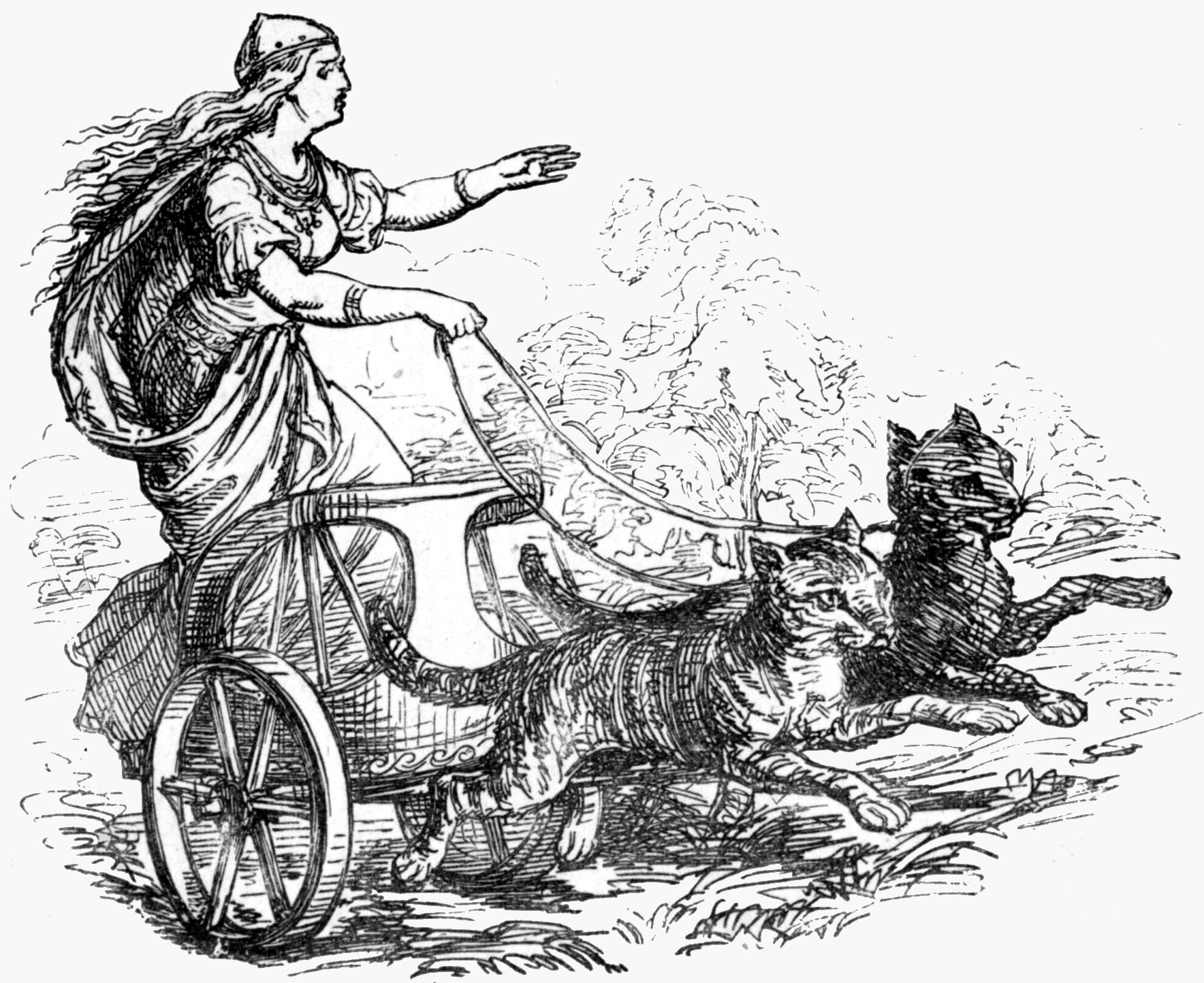 Nữ thần Freyja trong cỗ xe mèo kéo (1865) - tranh của Ludwig Pietsch