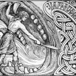 Víðarr giết Fenrir để trả thù (1908 ) – tranh của William Gersham Collingwood