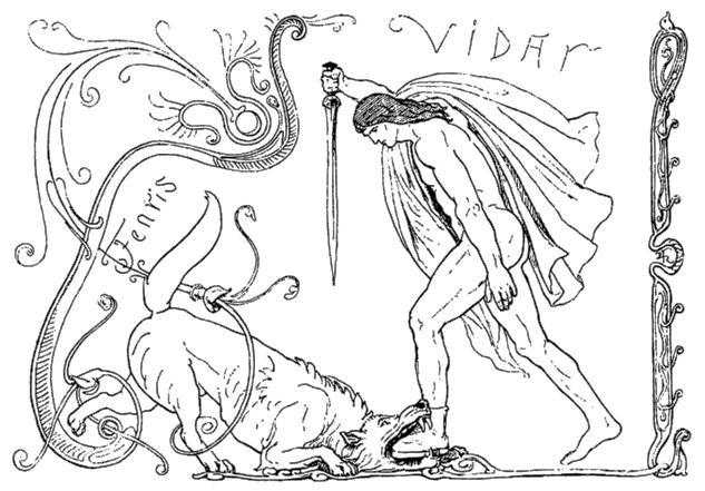 Víðarr giết Fenrir (1895) – tranh của Lorenz Frølich
